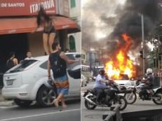 Travestis se unem para destruir carro de cliente que fugiu sem pagar