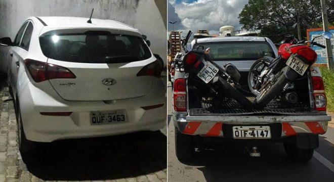 Carro recuperado pela PM em Assaré, além de duas motos em Juazeiro e duas em Crato