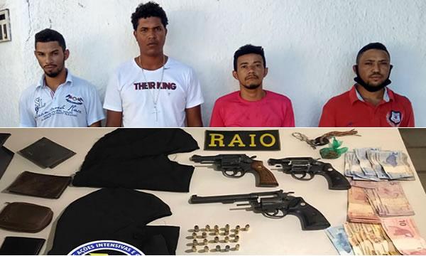 Quarteto preso em Barbalha com armas e balaclavas pronto para matar desafeto