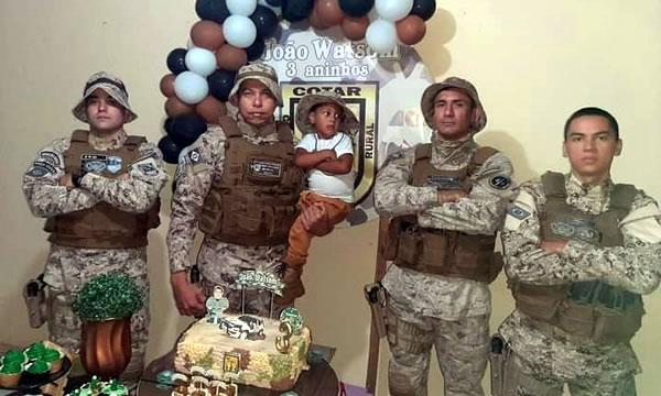 PMs são convidados e participam de festa de aniversário de criança em Crato