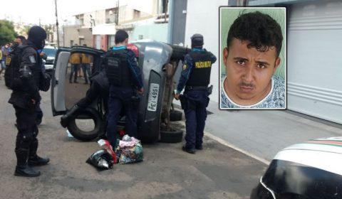 Veja o flagrante do tombo de carro em Juazeiro durante perseguição policial