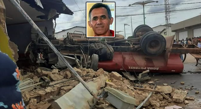 Carro pipa sem freios em Salitre deixa um morto após bater em moto e dois prédios
