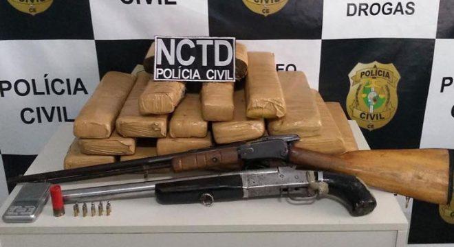 Polícia Civil prende em Crato membro de grupo criminoso com muitas drogas e armas