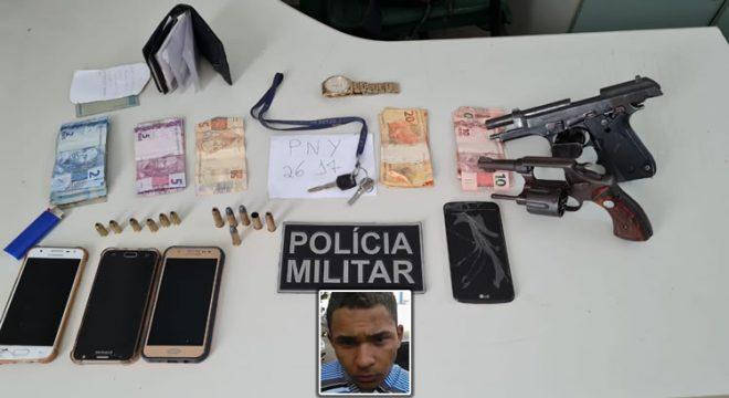 Após assaltos em Missão Velha, dupla troca tiros com a PM e um foi preso