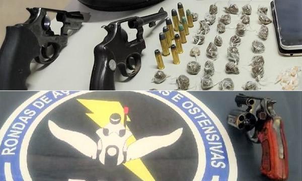 Dupla presa em Juazeiro com armas e drogas e jovem com revólver em Barbalha