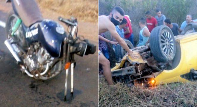 Colisão moto/carro no Cariri deixou um morto e quatro feridos em Mauriti