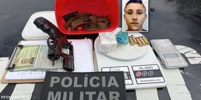 Jovem preso em Juazeiro e a PM apreende arma e drogas