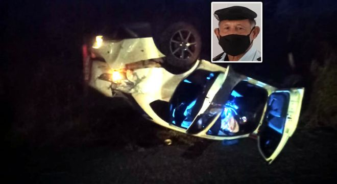 Carro capota em Lavras e Subtenente PM de Juazeiro sai ferido o qual trabalha no IML e é taxista