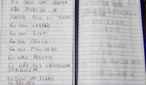 Mulher que matou o filho o obrigava a escrever em caderno