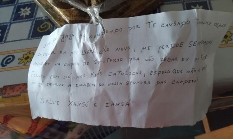 Imagem da padroeira furtada da igreja é encontrada no cemitério de Jaguaribe